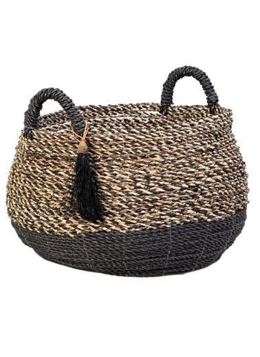 Kanca Ev Seagrass Hasır, Siyah-Natürel Örme, Siyah Püsküllü Göbekli Sepet, Büyük Siyah